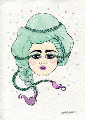 A watercolour and ink illustration of a green/ purple gradient haired babe with braids and eyelashes so long they can be braided around their head.