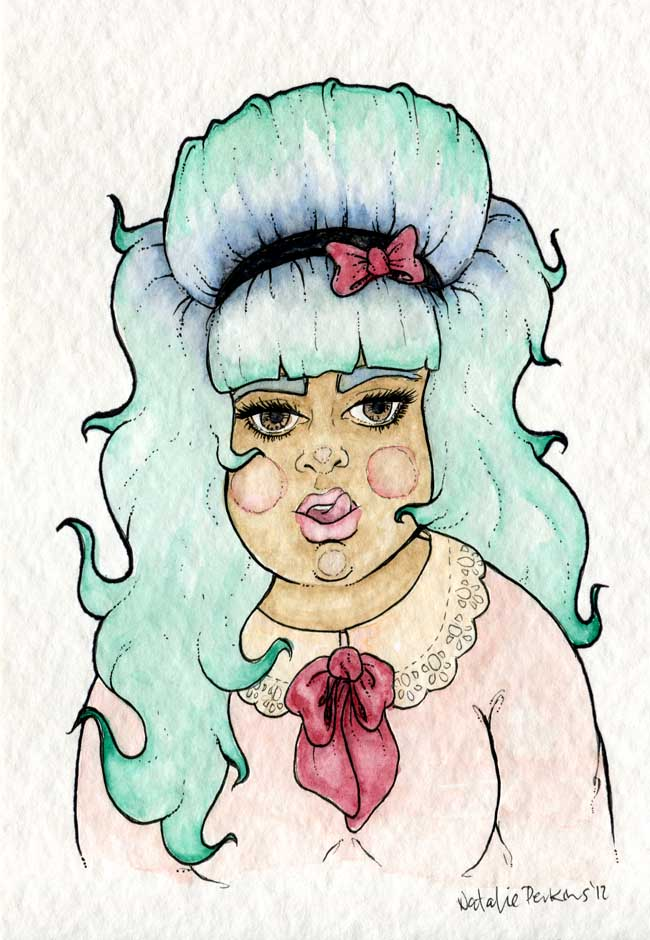 A watercolour and ink illustration of a beehived green/blue haired babe wearing a pink top with a doily collar and red bow as they lick their upper lip.