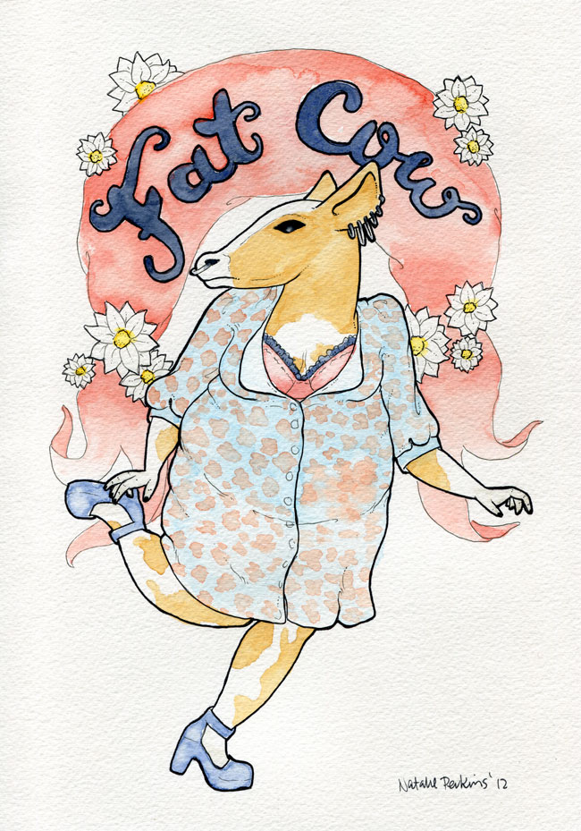 A watercolour and ink illustration of a fat person with a cow head wearing a floral dress and platform heels in some kind of glamorous running pose. A daisy strewn banner overhead says Fat Cow.