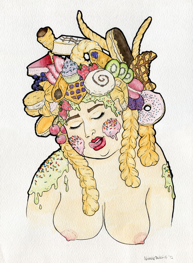 A watercolour and ink illustration of a white skinned woman wearing an assortment of pastry delicacies on her head in place of hair as she licks her upper lip.
