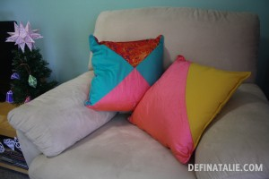 My colour block cushions in pink, yellow, aqua and red.