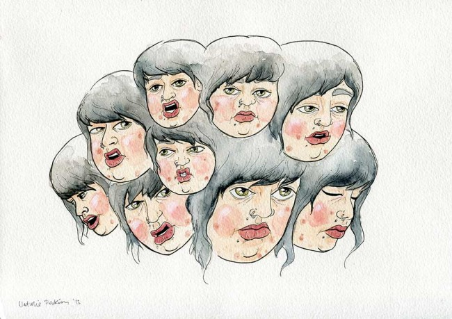Watercolour and ink illustration of a cluster of nine of my heads all making different facial expressions.