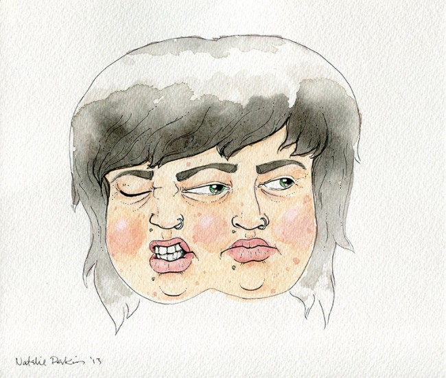 Watercolour and ink illustration of two of my heads, the left making an exaggerated expression of disgust, the right looking off to the side with a blank expression.
