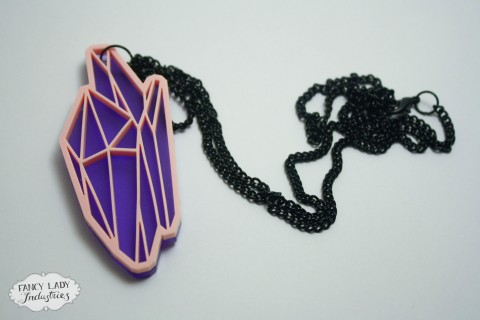 Crystal Powa necklace - Baby pink laser cut acrylic crystal facets on top of frosted purple pendant, on a long black chain. Also available in black and mirror, and black and gold glitter.