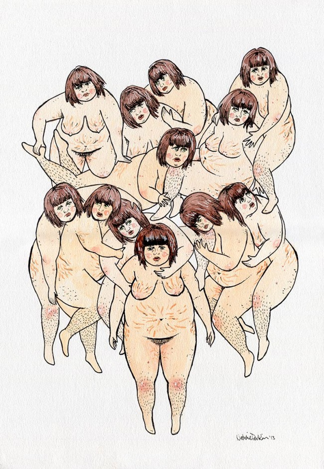 A watercolour and ink illustration depicting 12 identical naked fat white women with brown hair, all draped/ piled on the central figure who looks exasperated.