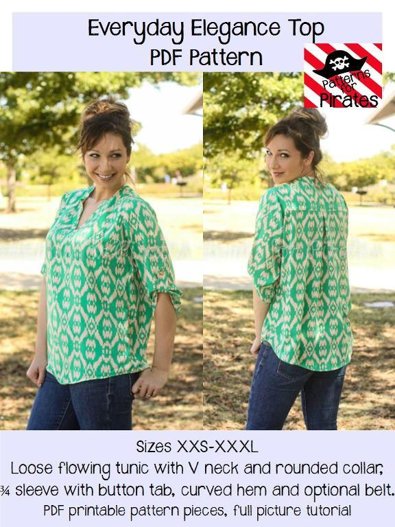 A comfortably fitting top with 3/4 sleeves and button tab, v neck and rounded collar.