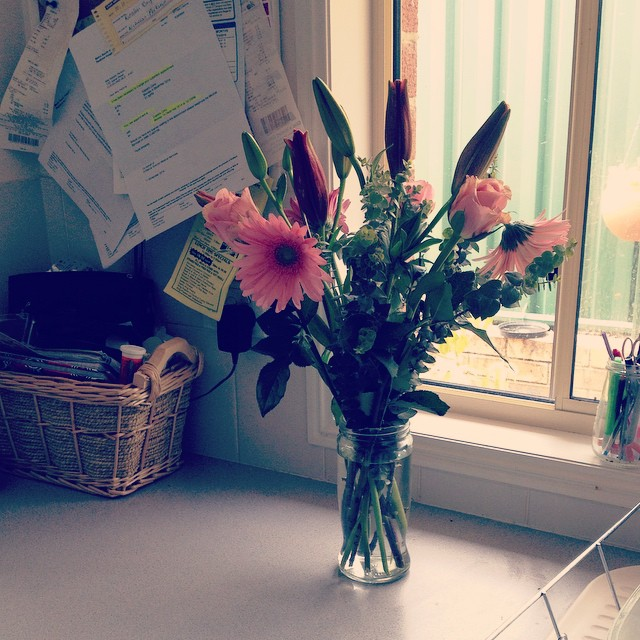 Nick bought me flowers for no reason! Unfortunately I don't own a big vase so I had to use a coffee jar.