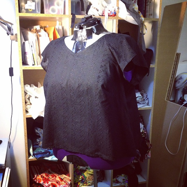 Black broderie anglaise blouse finished. I think I will wear this to death through summer.
