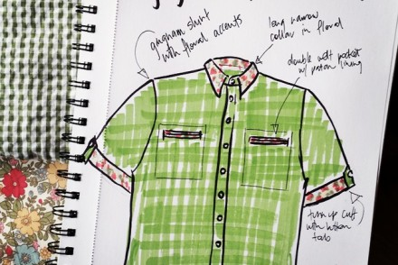 My sketch of Nick's shirt along with the green gingham seersucker and floral fabric combination I plan to use.