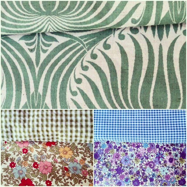 The top fabric is a beautiful large print in cotton/ linen, the bottom two are my gingham and floral combos.