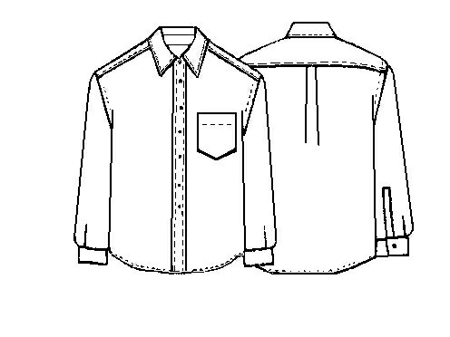 Technical drawing of Lekala's free men's shirt pattern.