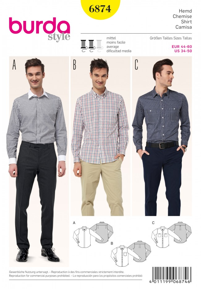A Burda men's shirt pattern, possibly an athletic fit?