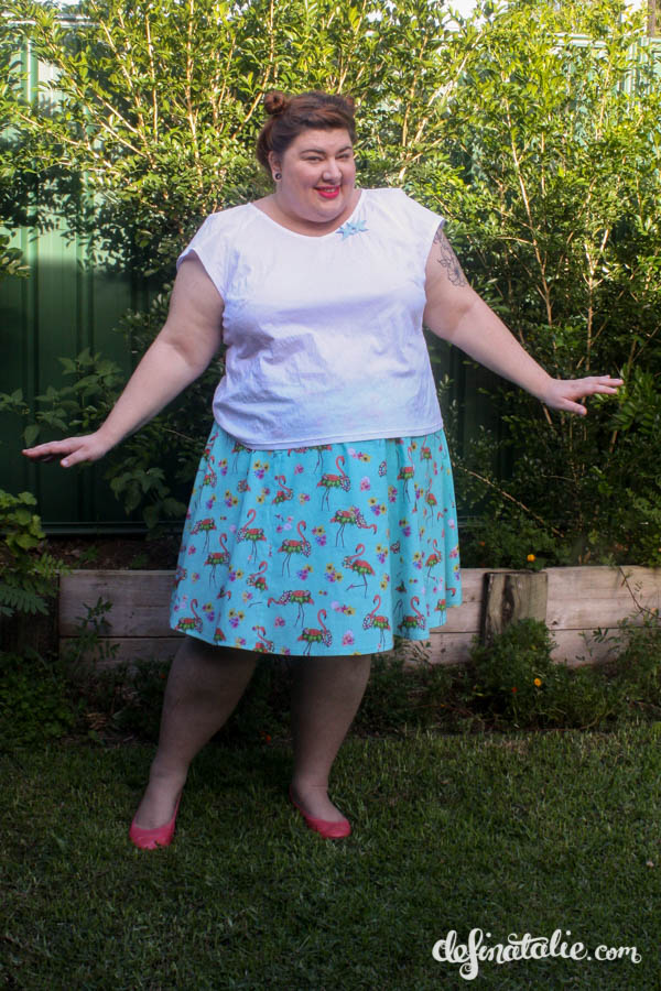 Here I am, with my carefully engineered 6 gore half circle skirt! I'm also wearing a white blouse made with SBCC's Mimosa pattern.