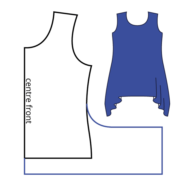 My probably-not-industry-compliant pattern diagram illustrates how to adapt a t-shirt to have a hanky hem.