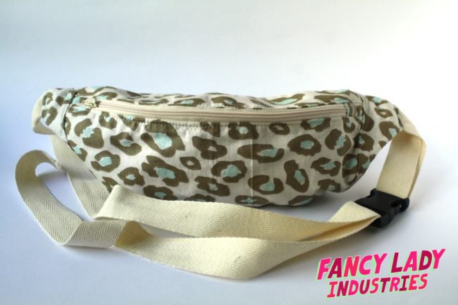 The front view of my Pastel Leopard bumbag. I love this fabric! It's a taupe leopard print on cream with mint in the centre of the leopard spots.