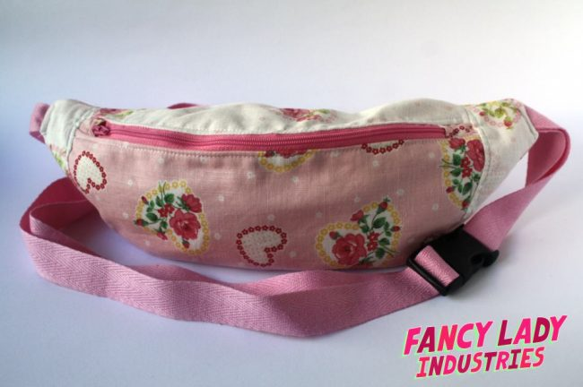 This bumbag uses an adorable pink and cream floral/ hearts Lecian print in two colourways.