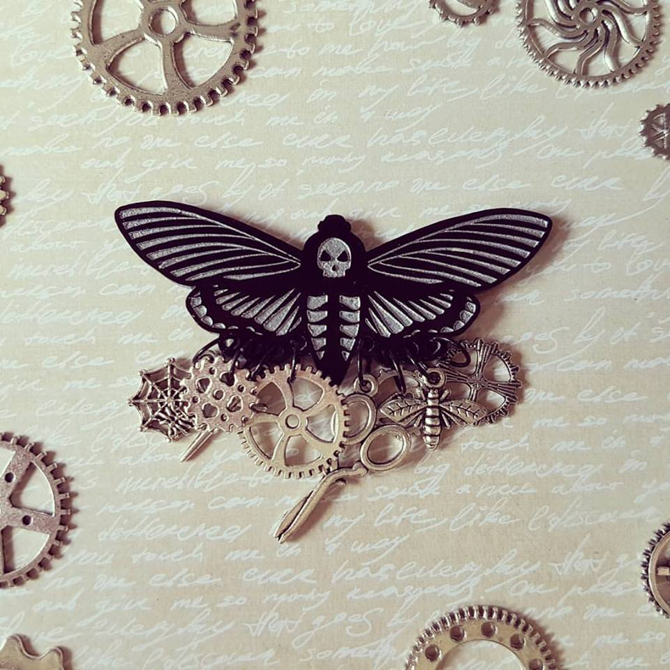 Steampunk death head moth chatelaine