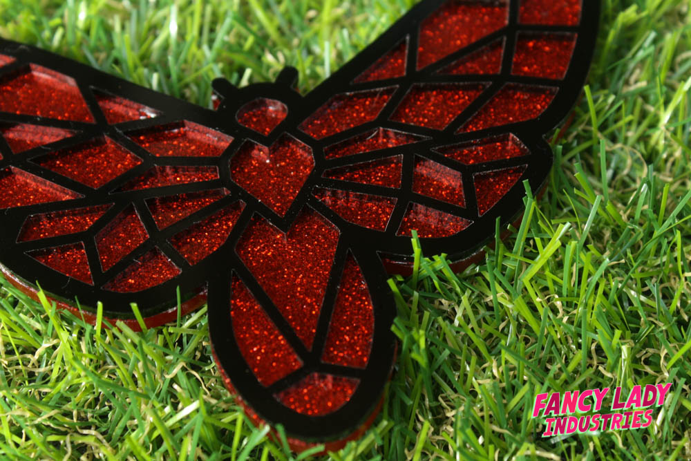 Red glitter moth necklace