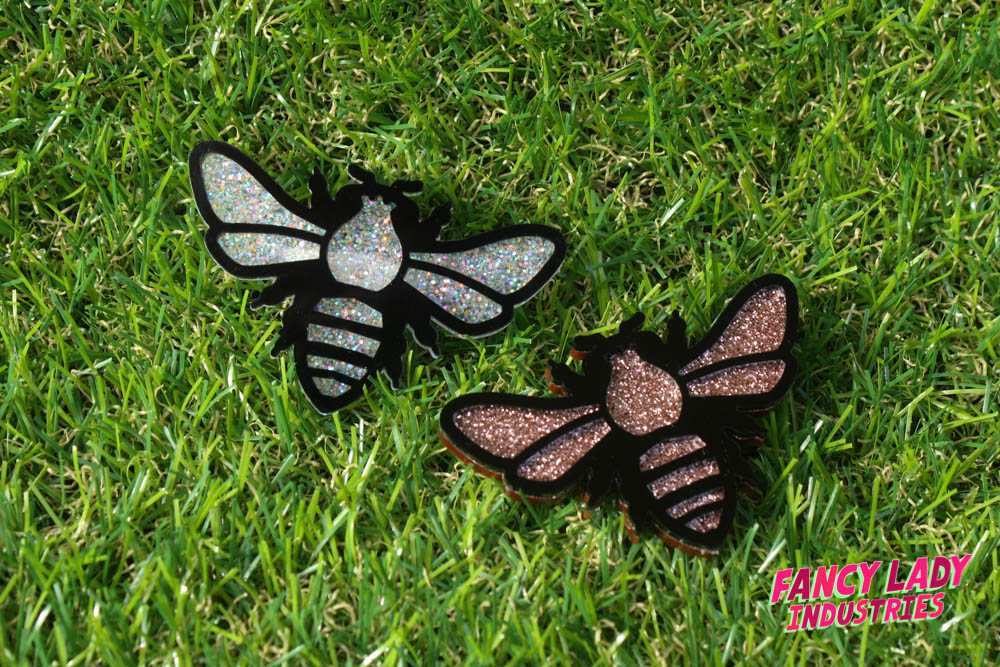 Steambees in white glitter and copper glitter