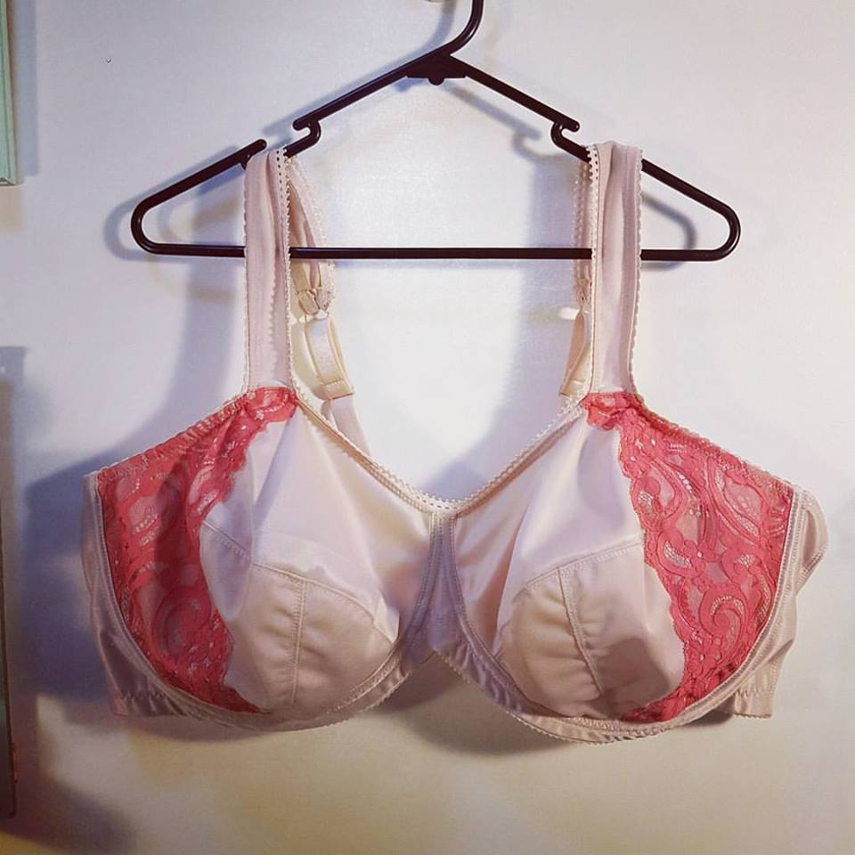 This bra uses the beige bra kit from Bra Maker's supply as well as some coral lace positioned as a kind of power bar on the side of the cups. I am not fond of it, and wish I knew how to extend the scalloped lace up the strap.