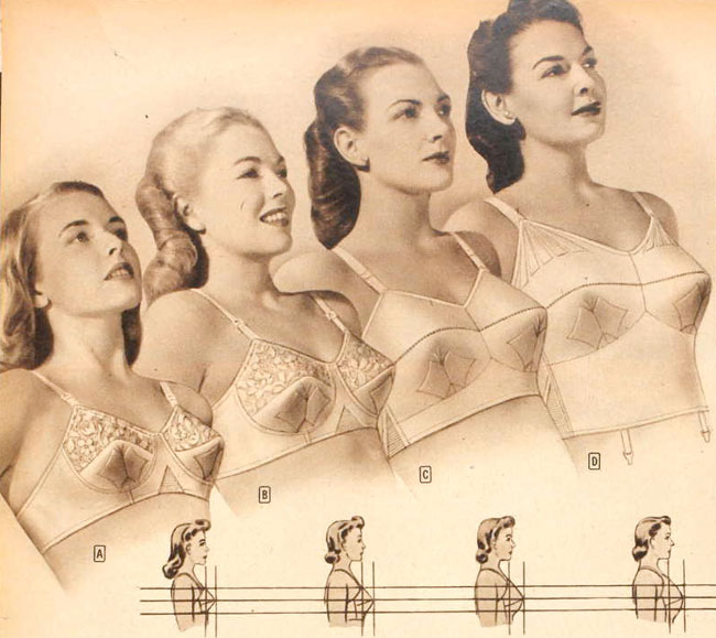 This vintage ad for Charmode Cordtex bras illustrates sizing from small cups to large. Notice the longer frame for the largest size? That doesn't really work for larger stomachs and will ride up under the bust! Plus notice the style gets decidedly less lacy and delicate as the style increases. Some things never change...