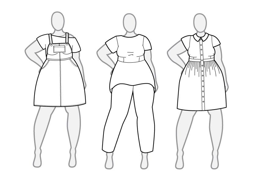 These are my first few drawings of patterns I'd like to try and design, including: an overall dress; peplum top; and shirt dress.