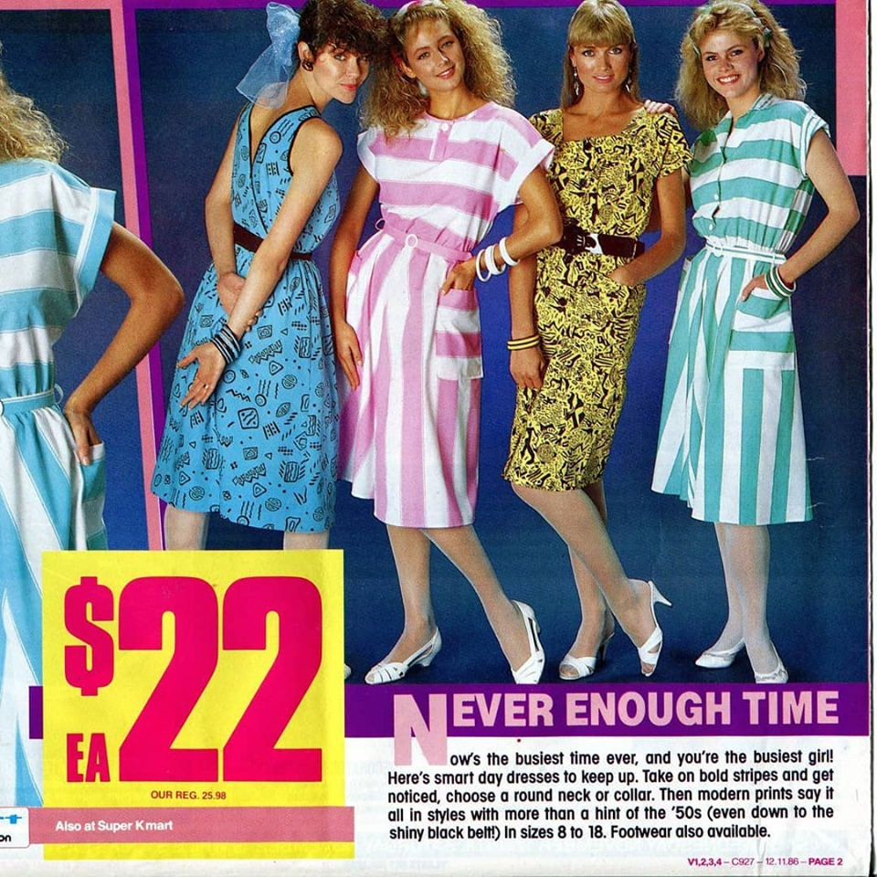 A section of a 1986 Kmart catalogue featuring 4 dresses that are very of their time in blue, pink stripe, yellow and turquoise stripe.